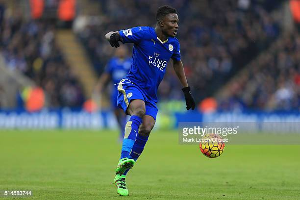 Daniel Amartey of Leicester in action during the Barclays Premier League match between Leicester City and Norwich City at the King Power Stadium on...