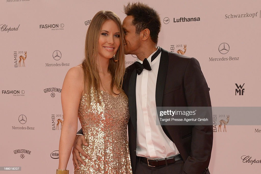 Daniel Aminati and Anja Hoebel attend the Bambi Awards 2013 at Stage Theater on November 14, 2013 in Berlin, Germany.