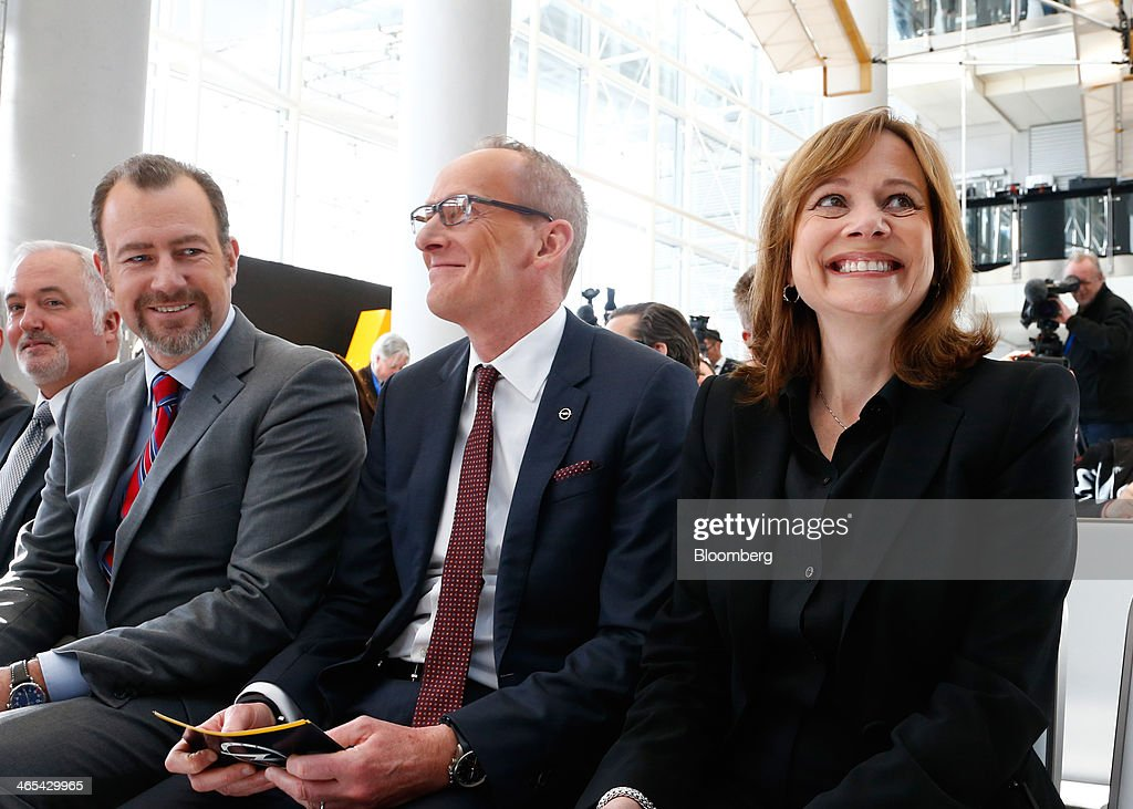 Daniel Ammann president of General Motors Co North America left KarlThomas Neumann chief executive officer of Opel center and Mary Barra chief...