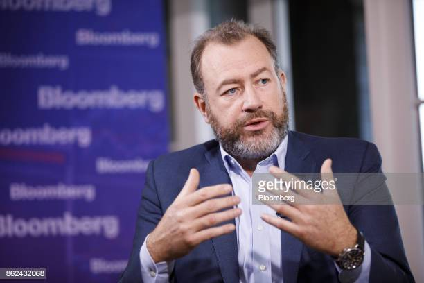 Daniel Ammann president of General Motors Co speaks during a Bloomberg Television interview on the sidelines of the Wall Street Journal DLive global...