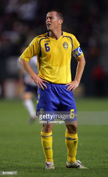 Daniel Andersson of Sweden looks to his goalkeeper prior to a freekick in the first half of their international friendly match at The Home Depot...
