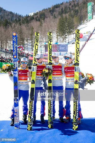 Daniel Andre Tande Johann Andre Forfang Keneth Gangnes and Anders Fannemel of Norway pose for a picture after winning the flying hill team...