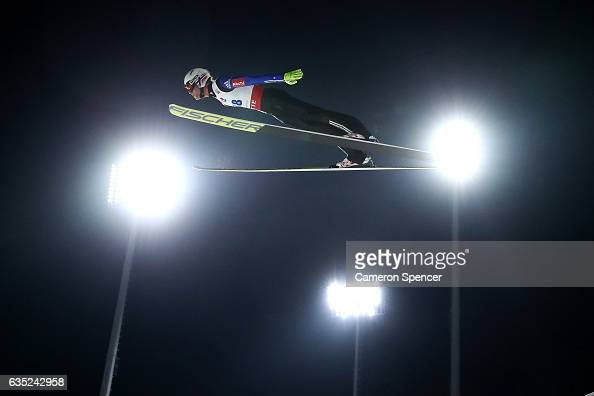 Daniel Andre Tande of Norway jumps during trainining for the 2017 FIS Ski Jumping World Cup test event For PyeongChang 2018 at Alpensia Ski Jumping...