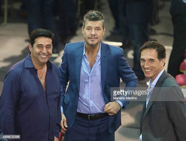 Daniel Angelici president of Boca Juliors and San Lorenzo vicepresident Marcelo Tinelli smile during Argentine Football Association presidential...