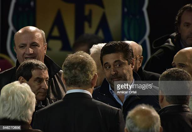 Daniel Angelici President of Boca Juniors during an Argentina Football Association extraordinary assembley at Julio Humberto Grondona Campus on July...