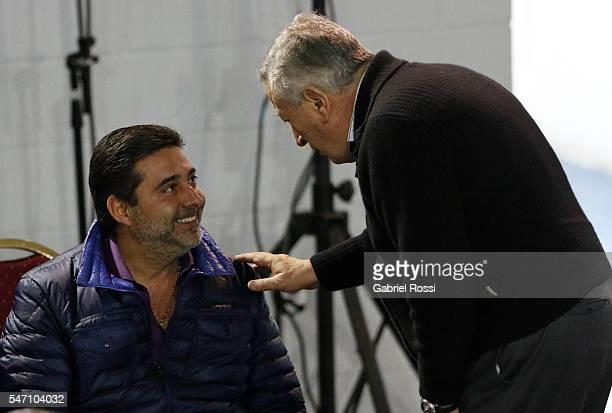 Daniel Angelici President of Boca Juniors talks with Luis Segura former AFA President during an Argentina Football Association extraordinary...