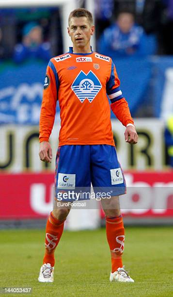 Daniel Arnefjord of Aalesunds FK in action during the Norwegian Tippeligaen match between Molde FK and Aalesunds FK held on May 6 2012 at the Aker...