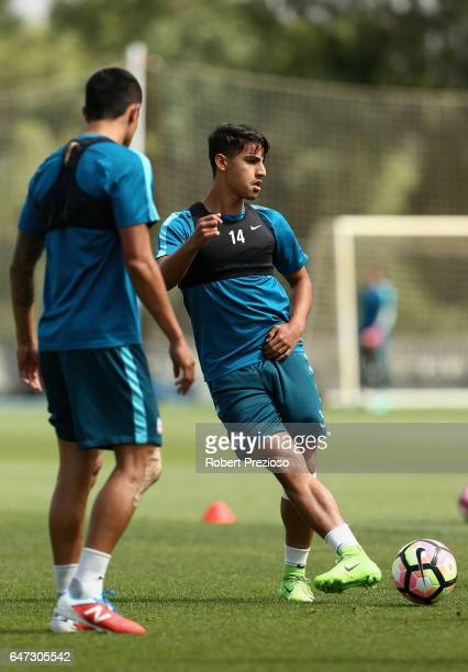 Daniel Arzani passes the ball during a Melbourne City FC training session at City Football Academy on March 3 2017 in Melbourne Australia