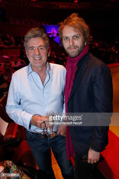 Daniel Auteuil and Florian Zeller attend 'Depardieu Chante Barbara' at Le Cirque d'Hiver on November 6 2017 in Paris France