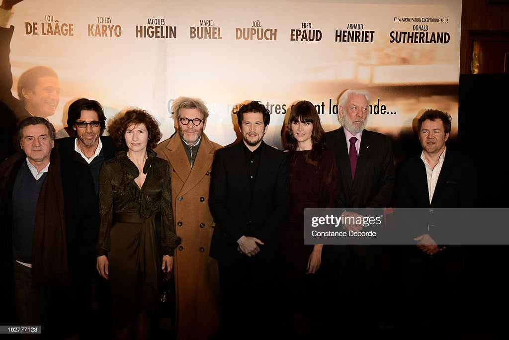 Daniel Auteuil, Marie Bunel, Tcheky Karyo, Guillaume Canet, Marina Hands and Donald Sutherland attend the 'Jappeloup' premiere at Le Grand Rex on February 26, 2013 in Paris, France.