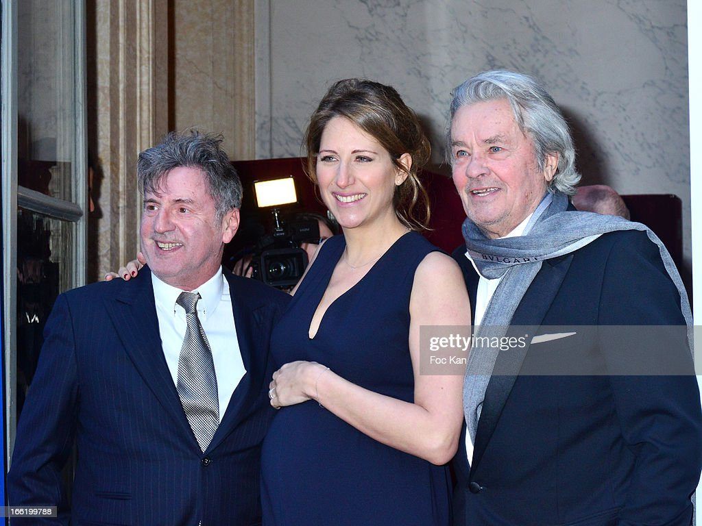 Daniel Auteuil, Maud Fontenoy and Alain Delon attend the Maud Fontenoy Foundation - Annual Gala Arrivals at Hotel de la Marine on April 9, 2013 in Paris, France.