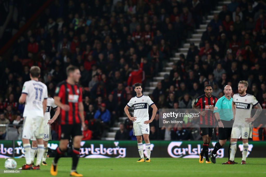 Daniel Ayala of Middlesbrough looks dejected after Callum Wilson of AFC Bournemouth scored the 2nd Bournemout goal during the Carabao Cup Fourth Round match between AFC Bournemouth and Middlesbrough at Vitality Stadium on October 24, 2017 in Bournemouth, England.