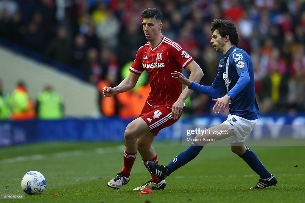 Daniel Ayala (L) of Middlesbrough tracked by <a gi-track='captionPersonalityLinkClicked' href=/galleries/search?phrase=Diego+Fabbrini&family=editorial&specificpeople=6893335 ng-click='$event.stopPropagation()'>Diego Fabbrini</a> of Birmingham City during the Sky Bet Championship match between Birmingham City and Middlesbrough at St Andrews on April 29, 2016 in Birmingham, United Kingdom.