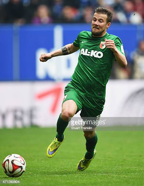 Daniel Baier of Augsburg in action during the Bundeslga match between Hamburger SV and FC Augsburg at Imtech Arena on April 25 2015 in Hamburg Germany