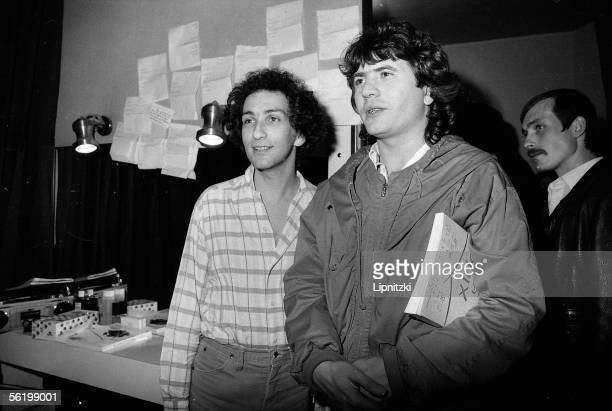 Daniel Balavoine in the dressing room of Michel Berger French composersongwriters and singers Paris Olympia 1982