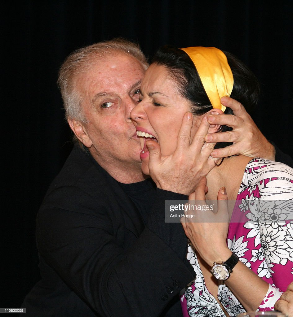 Daniel Barenboim and <a gi-track='captionPersonalityLinkClicked' href=/galleries/search?phrase=Anna+Netrebko&family=editorial&specificpeople=732328 ng-click='$event.stopPropagation()'>Anna Netrebko</a> during 'Manon' Press Conference with Daniel Barenboim, <a gi-track='captionPersonalityLinkClicked' href=/galleries/search?phrase=Anna+Netrebko&family=editorial&specificpeople=732328 ng-click='$event.stopPropagation()'>Anna Netrebko</a> and Rolando at Staatsoper Berlin in Berlin, Germany.