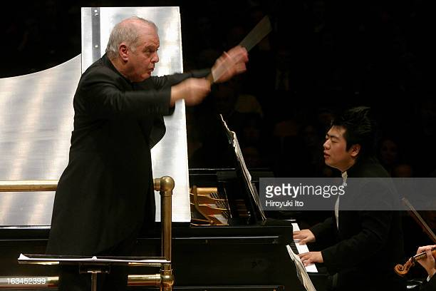 Daniel Barenboim conducts the Vienna Philharmonic Orchestra in Bartok's 'Piano Concerto No 2' with Lang Lang as the soloist at Carnegie Hall on...