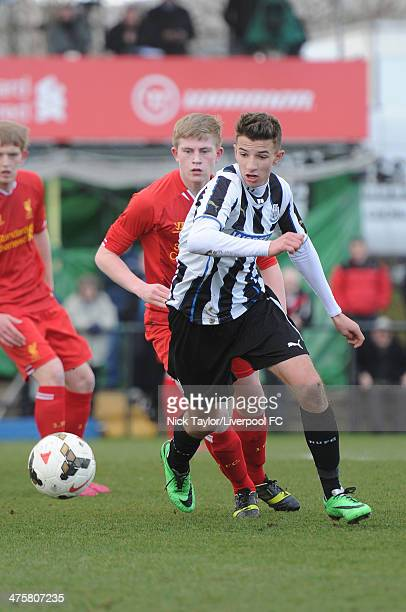 Daniel Barlaster of Newcastle and Liam Griffin of Liverpool in action during the Barclays Premier League Under 18 fixture between Liverpool and...
