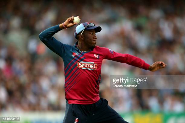 Daniel BellDrummond of Kent fields a ball during the Natwest T20 Blast match between Surrey and Kent Spitfires at The Kia Oval on July 2 2014 in...