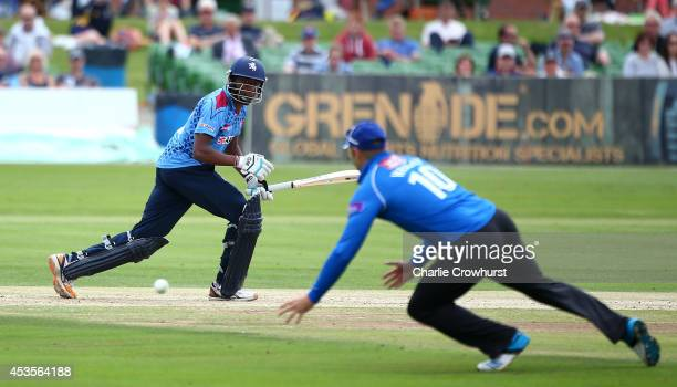 Daniel BellDrummond of Kent hits out during Royal London OneDay Cup match between Kent Spitfires and Sussex Sharks at The Spitfire Ground St Lawrence...