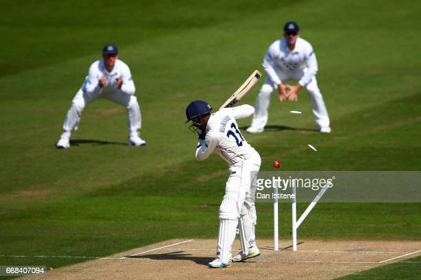 Daniel BellDrummond of Kent is bowled by Jofra Archer of Sussex during day one of the Specsavers County Championship Division Two match between...