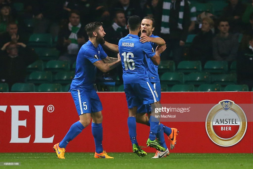Daniel Berg Hestad of Molde celebrates with teammates Joona Toivo and Etzaz Hussain after scoring his team's second goal during the UEFA Europa...