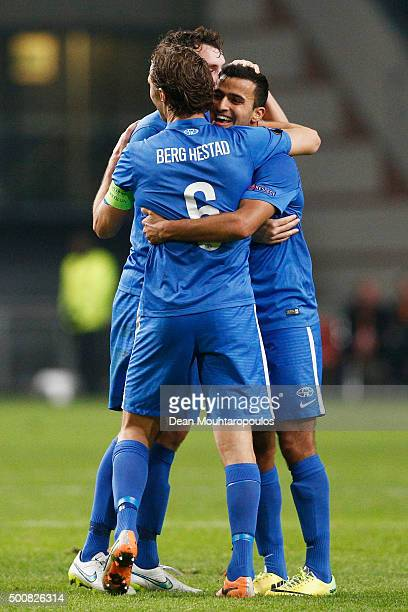 Daniel Berg Hestad of Molde FK celebrates after the final whistle during the group A UEFA Europa League match between AFC Ajax and Molde FK held at...