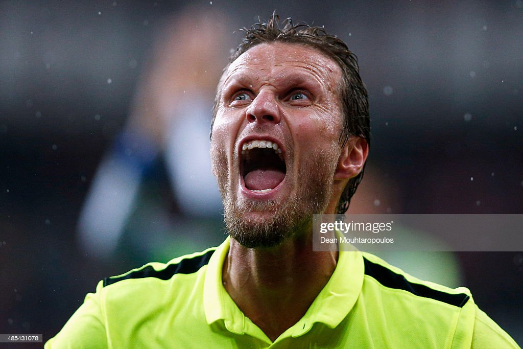Daniel Berg Hestad of Molde FK celebrates after victory in the UEFA Europa League play off round second leg match between Standard Liege and Molde FK...
