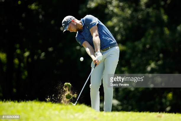 Daniel Berger hits his approach shot on the sixth hole during the third round of the John Deere Classic at TPC Deere Run on July 15 2017 in Silvis...