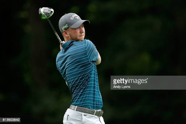 Daniel Berger hits his tee shot on the 13th hole during the first round of the John Deere Classic at TPC Deere Run on July 13 2017 in Silvis Illinois