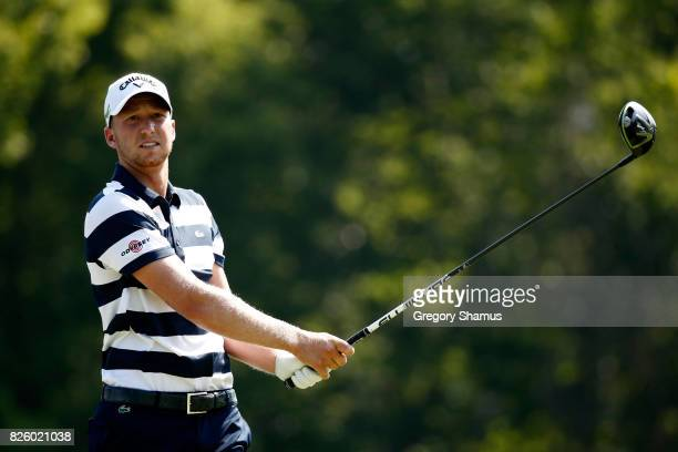 Daniel Berger hits off the sixth tee during the first round of the World Golf Championships Bridgestone Invitational at Firestone Country Club South...