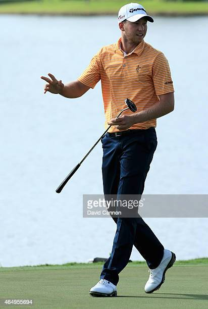 Daniel Berger is seen on the 18th green during the continuation of the fourth round of The Honda Classic at PGA National Resort Spa Champion Course...