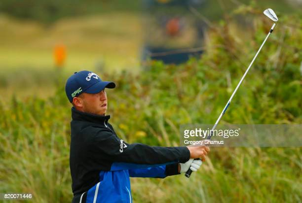 Daniel Berger of the United States hits his tee shot on the 7th hole during the second round of the 146th Open Championship at Royal Birkdale on July...