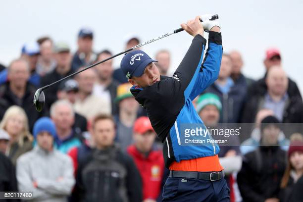 Daniel Berger of the United States hits his tee shot on the 9th hole during the second round of the 146th Open Championship at Royal Birkdale on July...