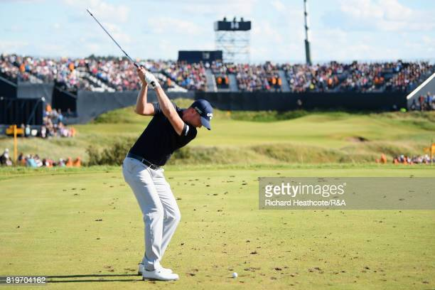 Daniel Berger of the United States on the 14th tee during the first round of the 146th Open Championship at Royal Birkdale on July 20 2017 in...