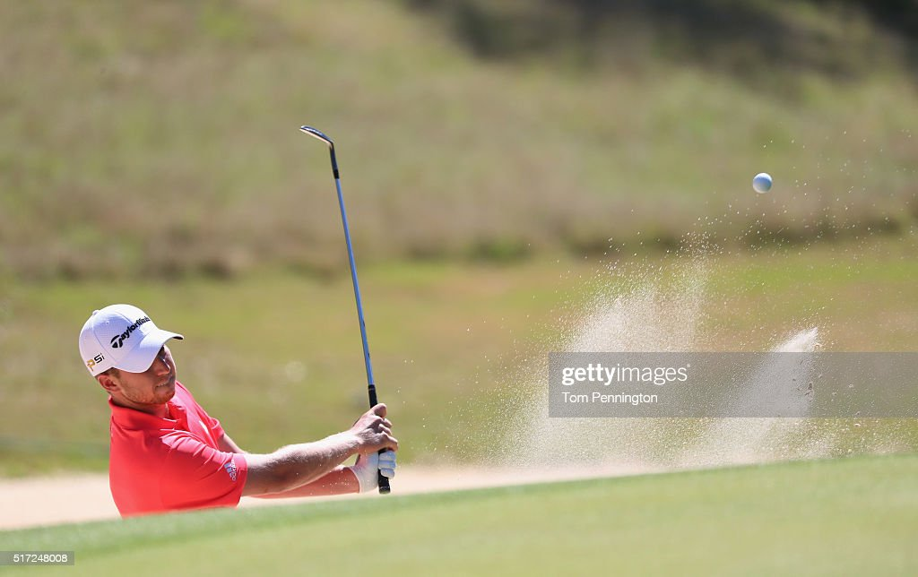 Daniel Berger of the United States plays a bunker shot on the seventh hole during the second round of the World Golf Championships-Dell Match Play at the Austin Country Club on March 24, 2016 in Austin, Texas.