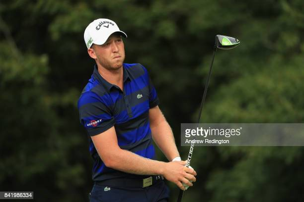 Daniel Berger of the United States plays his shot from the 14th tee during round two of the Dell Technologies Championship at TPC Boston on September...