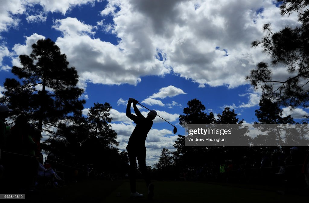 Daniel Berger of the United States plays his shot from the ninth tee during the first round of the 2017 Masters Tournament at Augusta National Golf Club on April 6, 2017 in Augusta, Georgia.