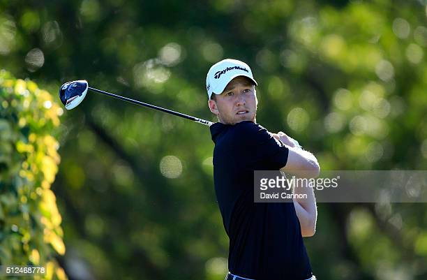 Daniel Berger of the United States plays his tee shot at the par 4 14th hole during the second round of the 2016 Honda Classic held on the PGA...