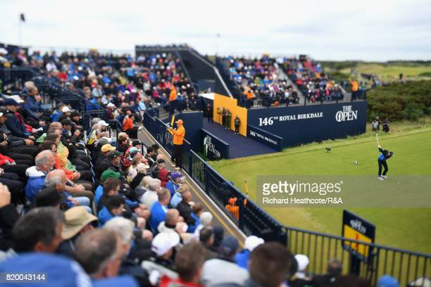 Daniel Berger of the United States tees off on the 1st hole during the second round of the 146th Open Championship at Royal Birkdale on July 21 2017...