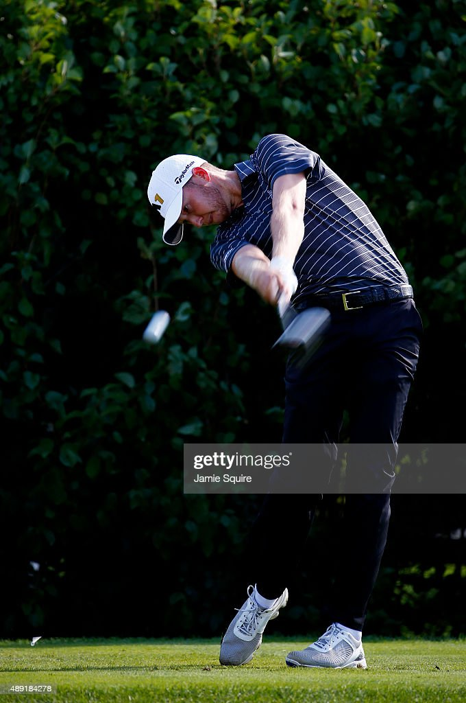 Daniel Berger plays his shot from the 13th tee during the Third Round of the BMW Championship at Conway Farms Golf Club on September 19, 2015 in Lake Forest, Illinois.
