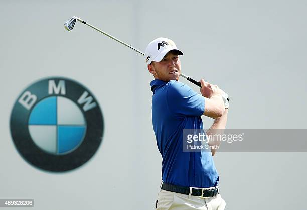 Daniel Berger plays his shot from the first tee during the Final Round of the BMW Championship at Conway Farms Golf Club on September 20 2015 in Lake...