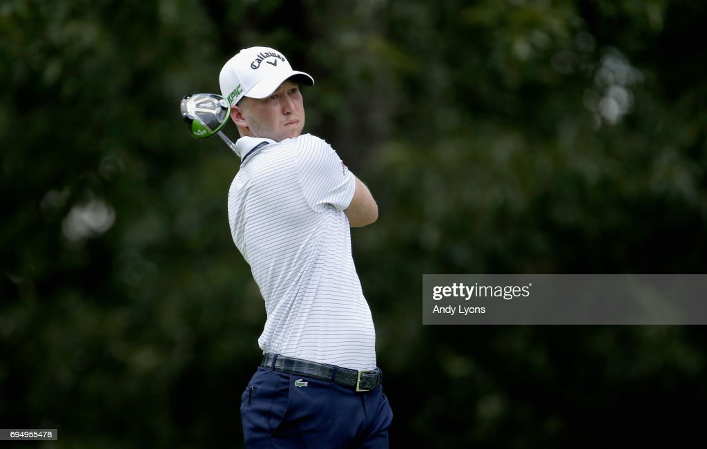 Daniel Berger plays his shot from the seventh tee during the final round of the FedEX St. Jude Classic at the TPC Southwind on June 11, 2017 in Memphis, Tennessee.
