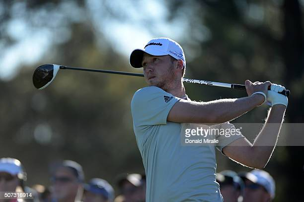 Daniel Berger tees off on the 10th hole during Round 1 of the Farmers Insurance Open at Torrey Pines North on January 28 2016 in San Diego California