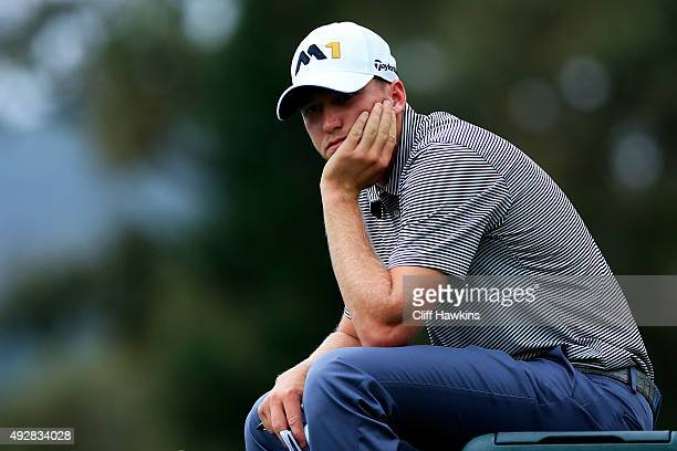 Daniel Berger waits to play his shot from the second tee during the first round of the Fryscom Open at the North Course of the Silverado Resort and...