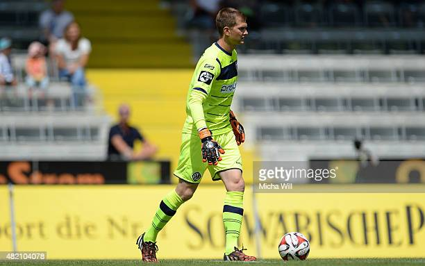 Daniel Bernhardt goalkeeper of Aalen controls the ball during the Third League match between VfR Aalen and Chemnitzer FC at ScholzArena on July 25...