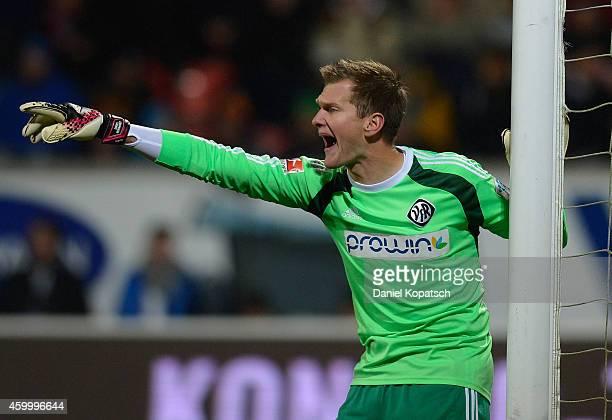 Daniel Bernhardt of Aalen reacts during the second Bundesliga match between 1 FC Heidenheim and VfR Aalen at VoithArena on December 5 2014 in...