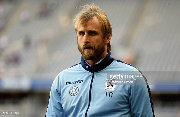 Daniel Bierofka head coach of Muenchen arrives for the Second Bundesliga match between TSV 1860 Muenchen and SC Paderborn at Allianz Arena on May 08...
