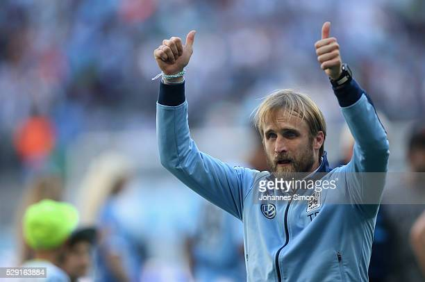 Daniel Bierofka head coach of Muenchen celebrates after the Second Bundesliga match between TSV 1860 Muenchen and SC Paderborn at Allianz Arena on...