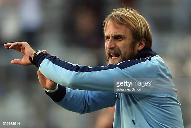 Daniel Bierofka head coach of Muenchen reacts during the Second Bundesliga match between TSV 1860 Muenchen and SC Paderborn at Allianz Arena on May...